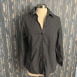 Foxcroft Black White Size 16 Polka Dots